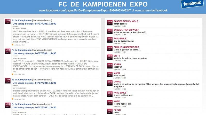 Arrano bvba: Facebook fontein voor FC De Kampioenen Expo