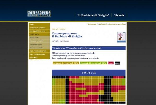 Zomeropera Alden Biesen vzw: Zomeropera: Online ticketting systeem met plaatstoekenning