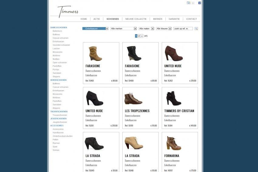 Schoenen Timmers - Shoebizz bvba: Schoenen Timmers: Restyling website & Facebook integratie