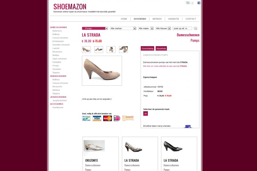 Schoenen Timmers - Shoebizz bvba: Shoemazon: Restyling website & Facebook integratie