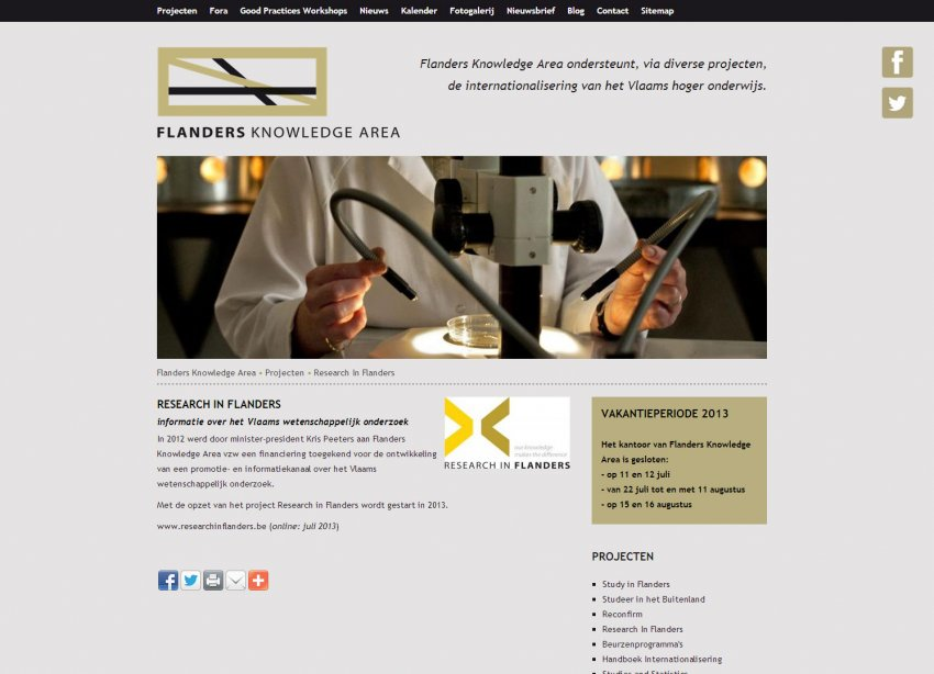 Flanders Knowledge Area vzw: Restyling website Flamenco / Flanders Knowledge Area