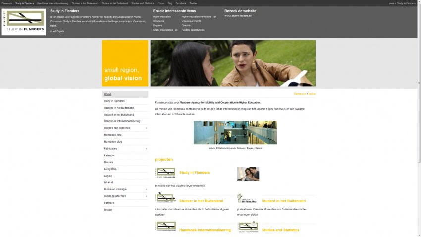 Flanders Knowledge Area vzw: Restyling website & integratie sociale media