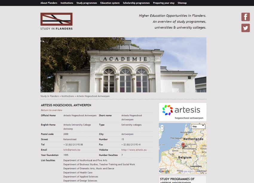 Flanders Knowledge Area vzw: Restyling website Study In Flanders
