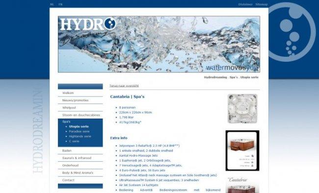 Hydrodreaming (S.I.E.C.) bvba: Website & productendatabase van Hydrodreaming