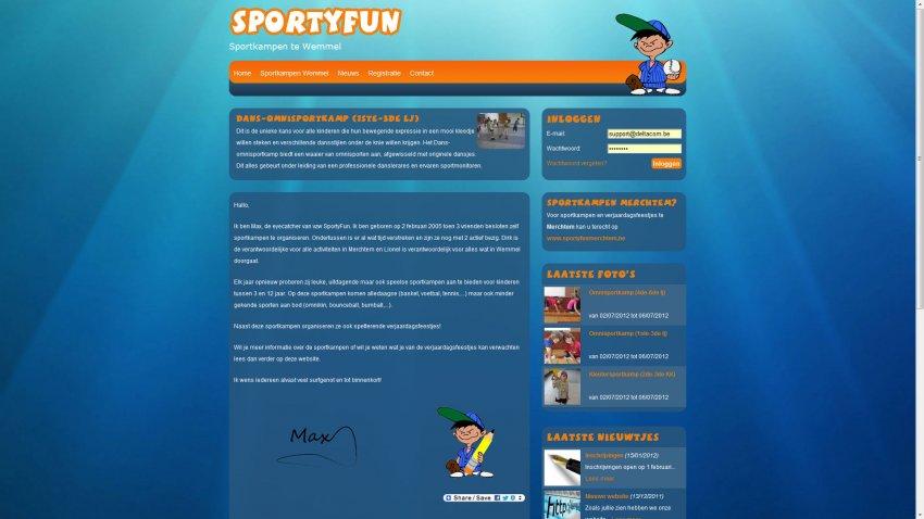 SportyFun vzw: Website Sportyfun