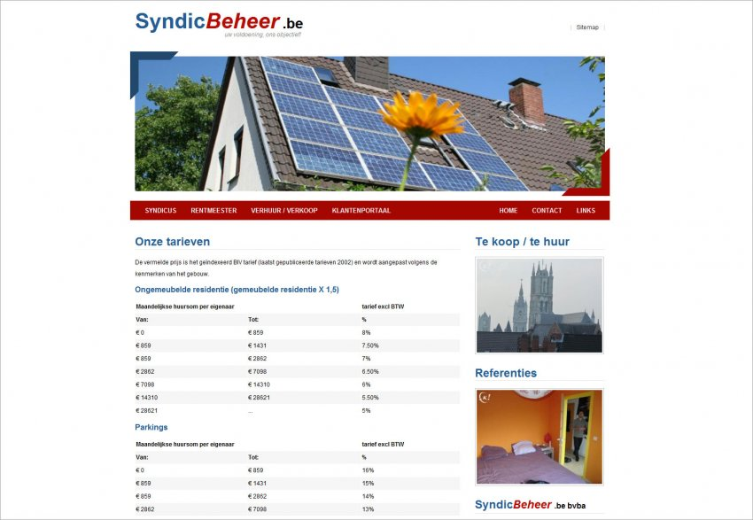 Syndicbeheer bvba: Website Syndicbeheer.be