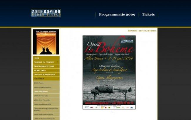 Zomeropera Alden Biesen vzw: Website voor de Zomeropera, incl. ticketting systeem